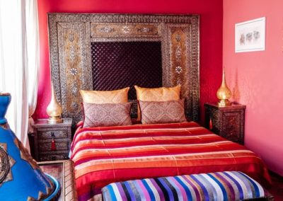 The large bedroom with wonderful Moroccan details.